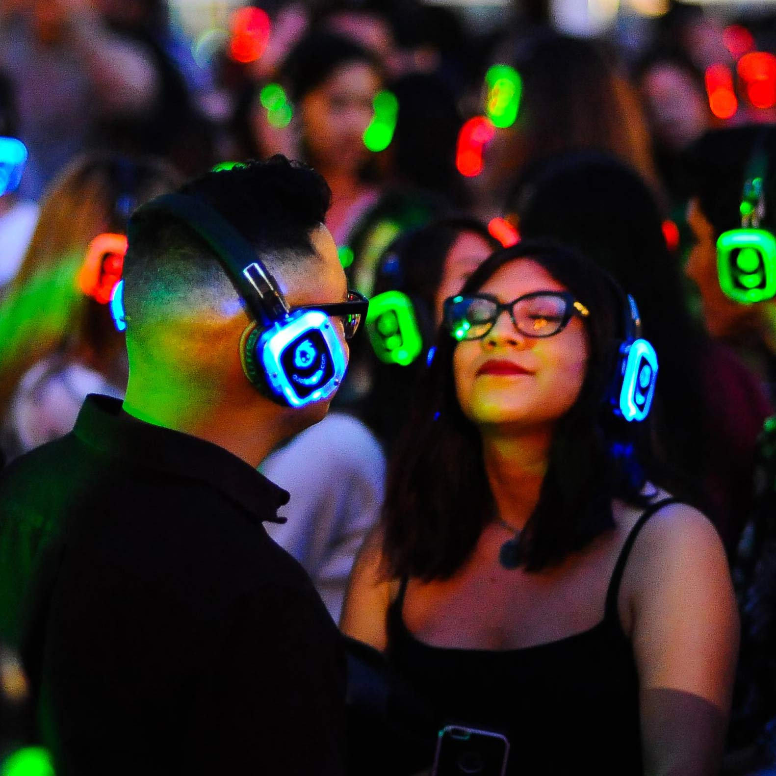 Image of People Dancing at a Silent Disco