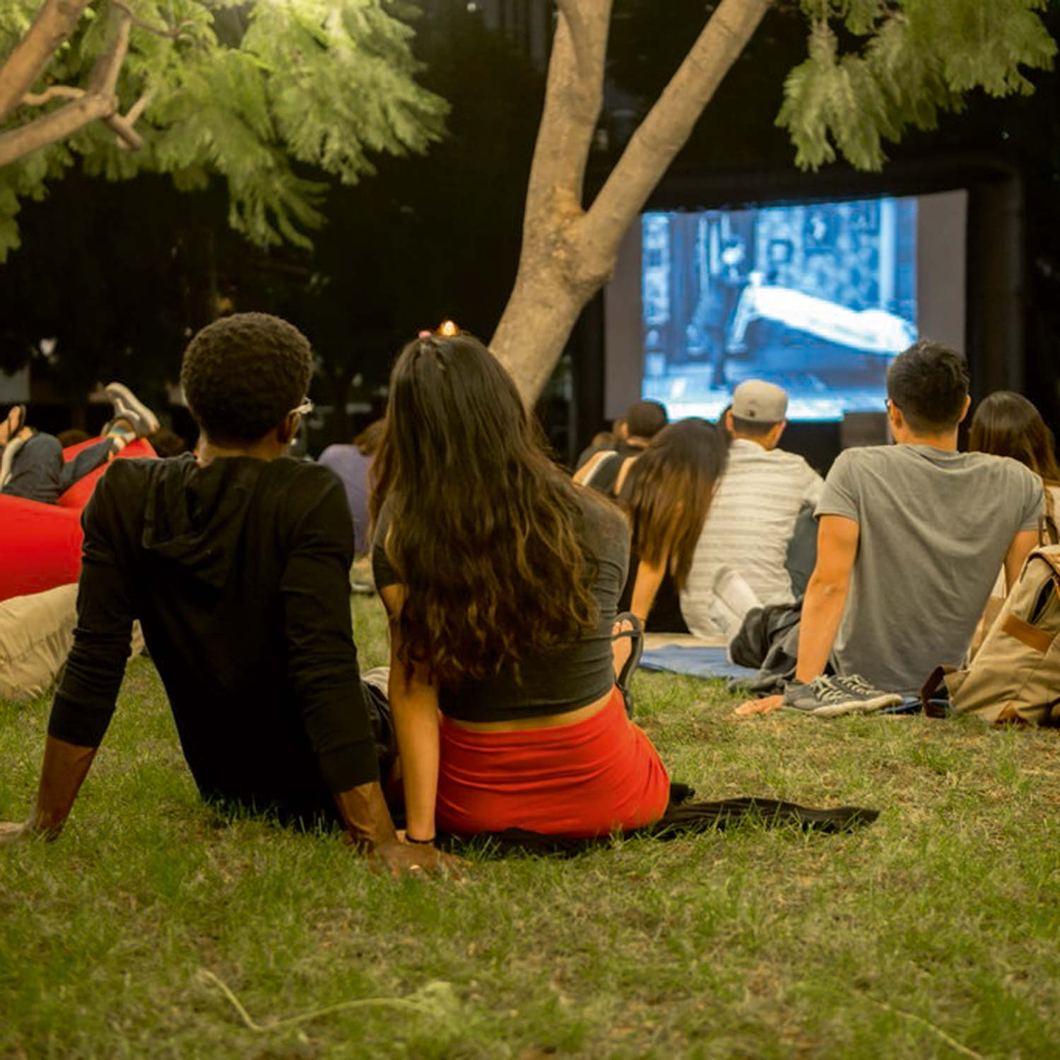 Image of Couple Watching Movie Outdoors